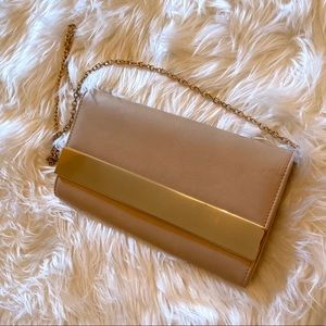 Aldo blush and gold clutch on chain
